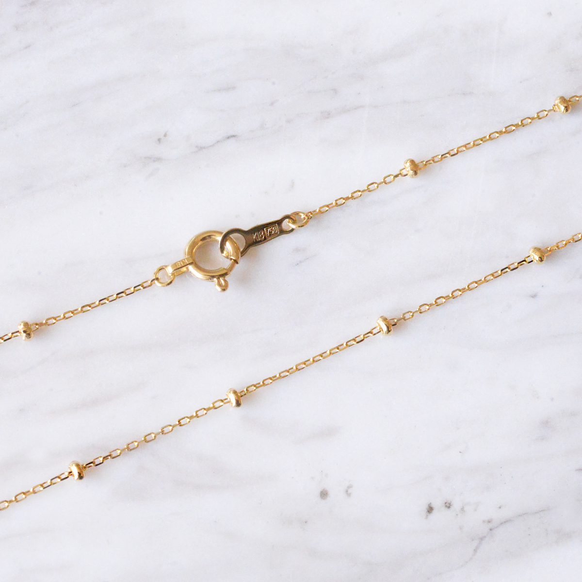 4/2新発売  k18ネックレス K18 イエローゴールド スタッド アズキチェーン 幅1.7mm チェーン 50cm/ プレゼント ギフト gold necklace ach1663c50