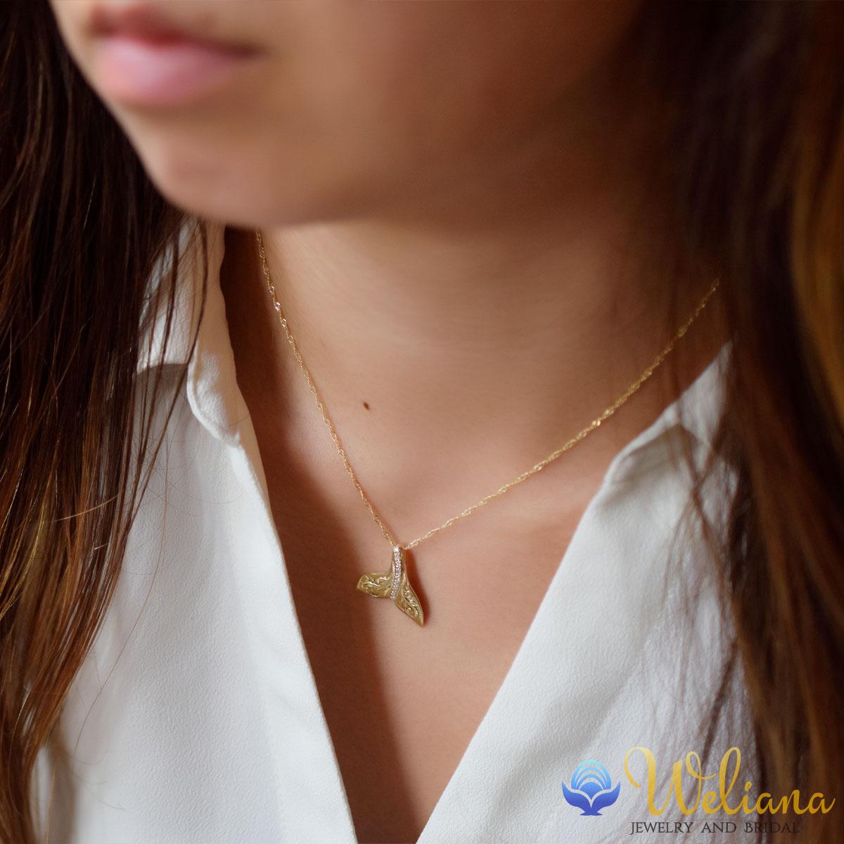 K10 ゴールド 10金 ダイヤモンド ネックレス ハワイアンジュエリー ホエールテイル ペンダント wpd1626/新作