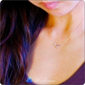 ハワイアンジュエリー ネックレス (Weliana)K18イエローゴールド・オープンプルメリア・ダイヤモンドペンダントネックレス wpd3311
