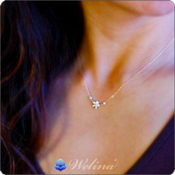 ハワイアンジュエリー ネックレス (Weliana)K18イエローゴールド・プルメリア・ダイヤモンドペンダントネックレス wpd3361