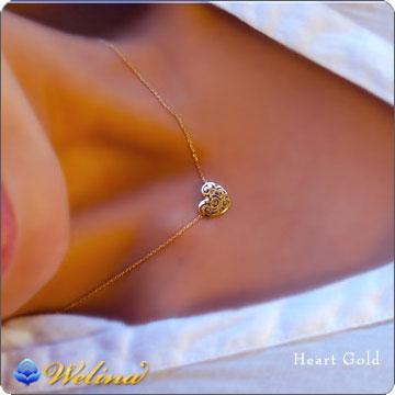 ハワイアンジュエリー ネックレス (Weliana)イエローゴールドハートのレリーフペンダント ネックレスとピアスのコーディネートセット