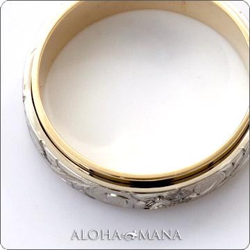 ハワイアンジュエリー  結婚指輪 デュアルトーン フラット ゴールドリング cdr035 (幅6mm・8mm・10mm)