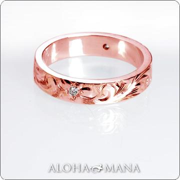 ハワイアンジュエリー  結婚指輪 シングルトーンフラット 0.02ct ダイヤモンドゴールドリング (幅4mm・6mm) hijrig034