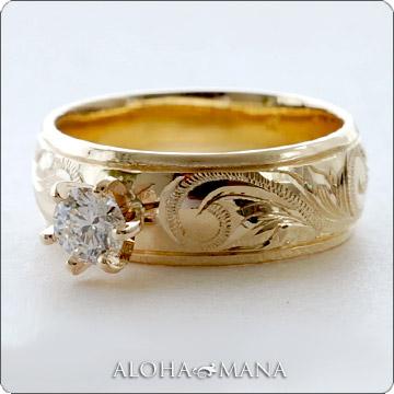 エンゲージリング 結婚指輪 婚約指輪 ハワイアンジュエリー リング レディース バレル 立て爪 ダイヤモンド ゴールドリング ウェディング リング(幅6mm) lgr008