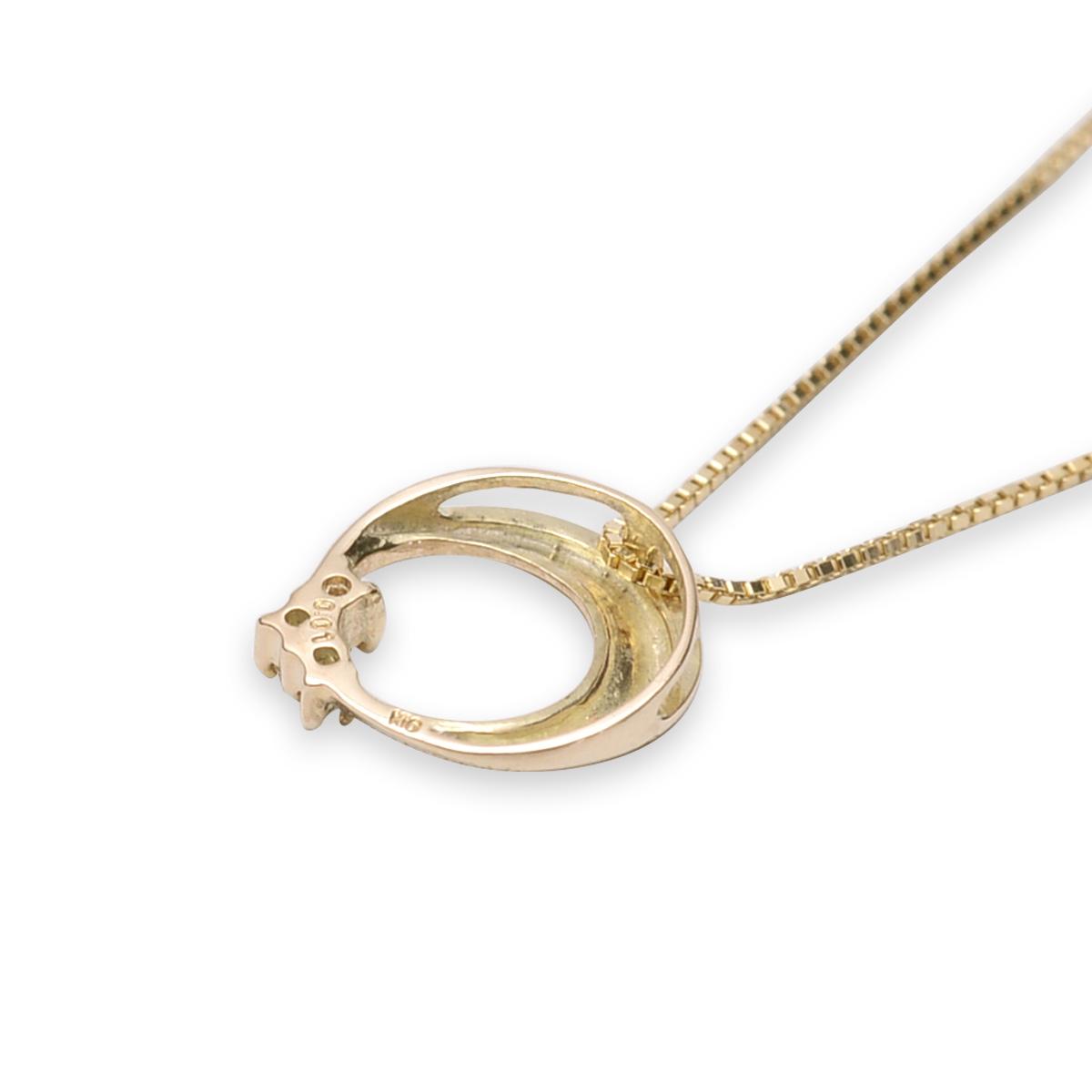 ゴールドネックレス 10k ネックレス ハワイアンジュエリー レディース 女性 10金 K10 ゴールド ・ムーンペンダント ダイヤモンド 0.01ct ペンダント イエローゴールド 華奢 ane1540  新作