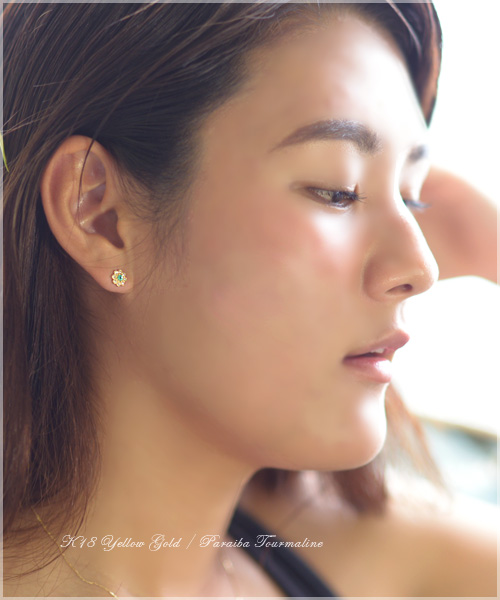 (RERALUy)パライバトルマリン ピアス レディース 女性 アクセサリー 上質 パライバ & ダイヤモンド のプチフラワー・スタッドピアス ゴールドピアス K18 18k ゴールド 18金 フラワー rpe1204 プレゼント ギフト