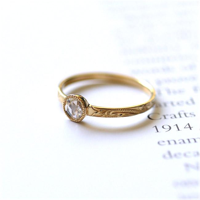 ダイヤモンド リング ハワイアンジュエリー アクセサリー レディース (K18 ゴールド 18金) ローズカット ダイヤモンド 一粒ソリティアリング イエローゴールド wri1356