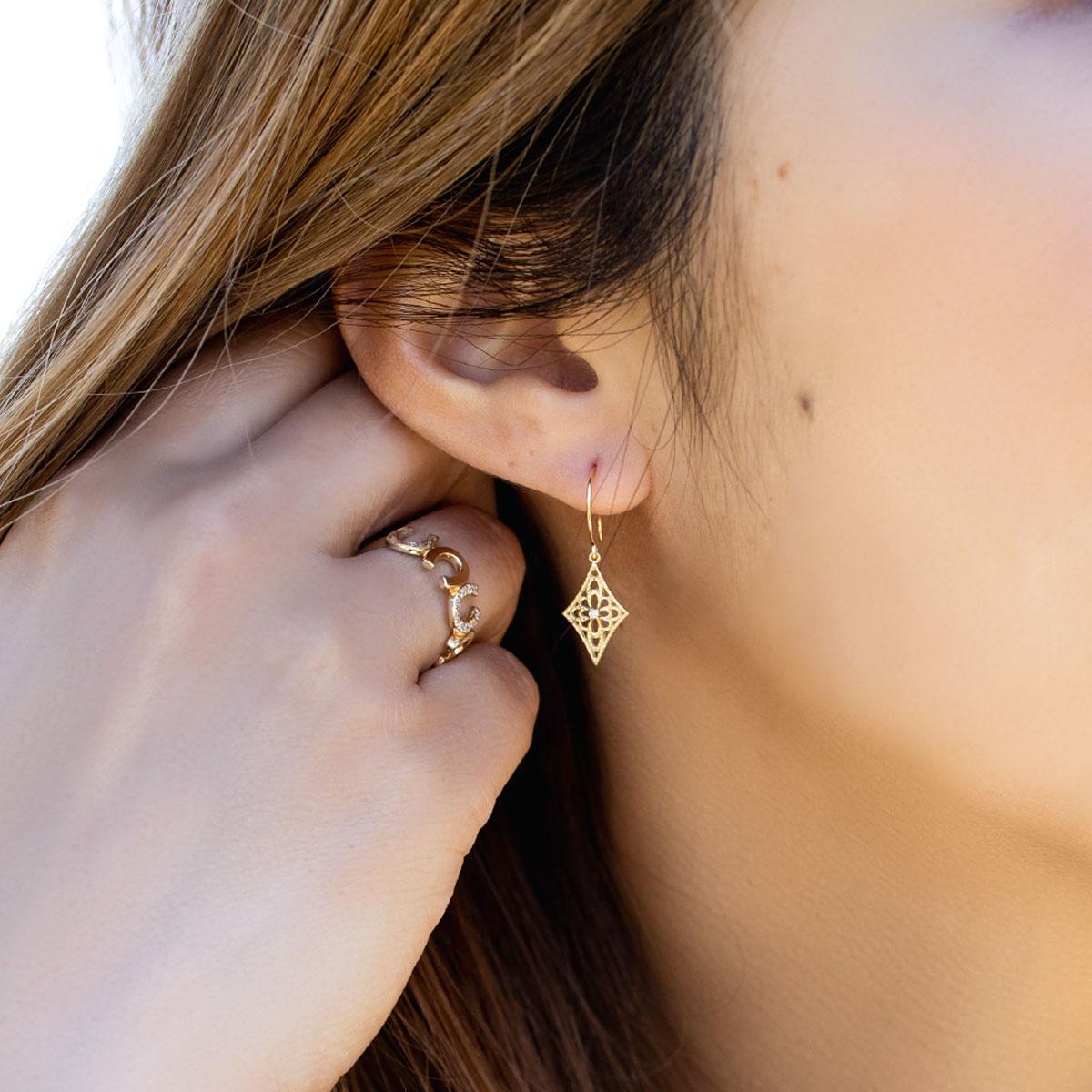 リング 指輪 ハワイアンジュエリー レディース 女性 ホースシュー ダイヤモンド パヴェ 馬蹄 蹄 スクロール ゴールドリング K10 ゴールド 10金 イエロー ari1456