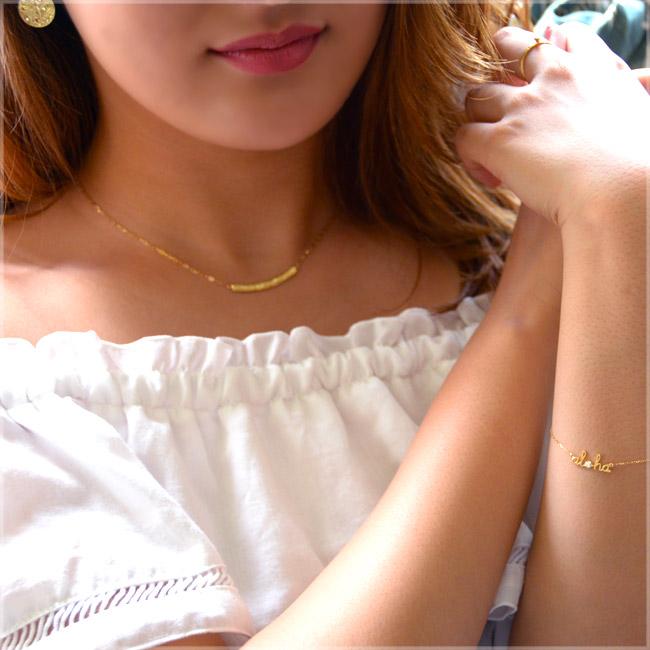 ハワイアンジュエリー アクセサリー レディース K18 18金 ゴールド アロハ レター ダイヤモンド ブレスレット 華奢 シンプル abr1351