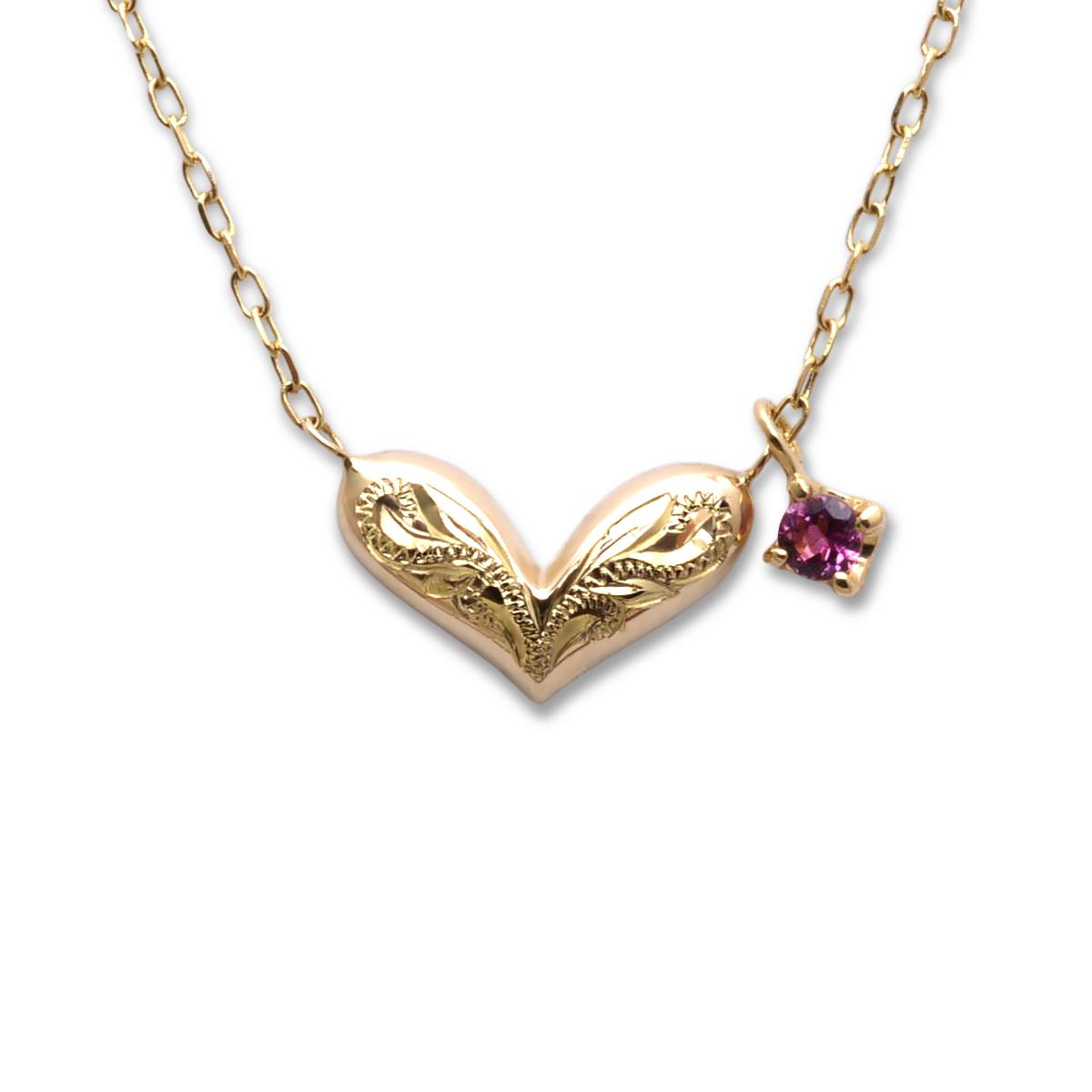 クリスマス限定アイテム☆K10 ゴールド ネックレス ファンシーハート&ジェム 40cm チェーン一体型ネックレス ダイヤモンド ピンクトルマリン