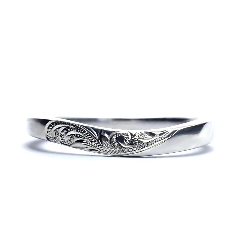 マリッジリング 結婚指輪 ハワイアンジュエリー  レディース 女性 メンズ 男性 (Weliana)ONLYONE 【幅3mm】 ウェーブ マリッジリング  K14 K18 pt900
