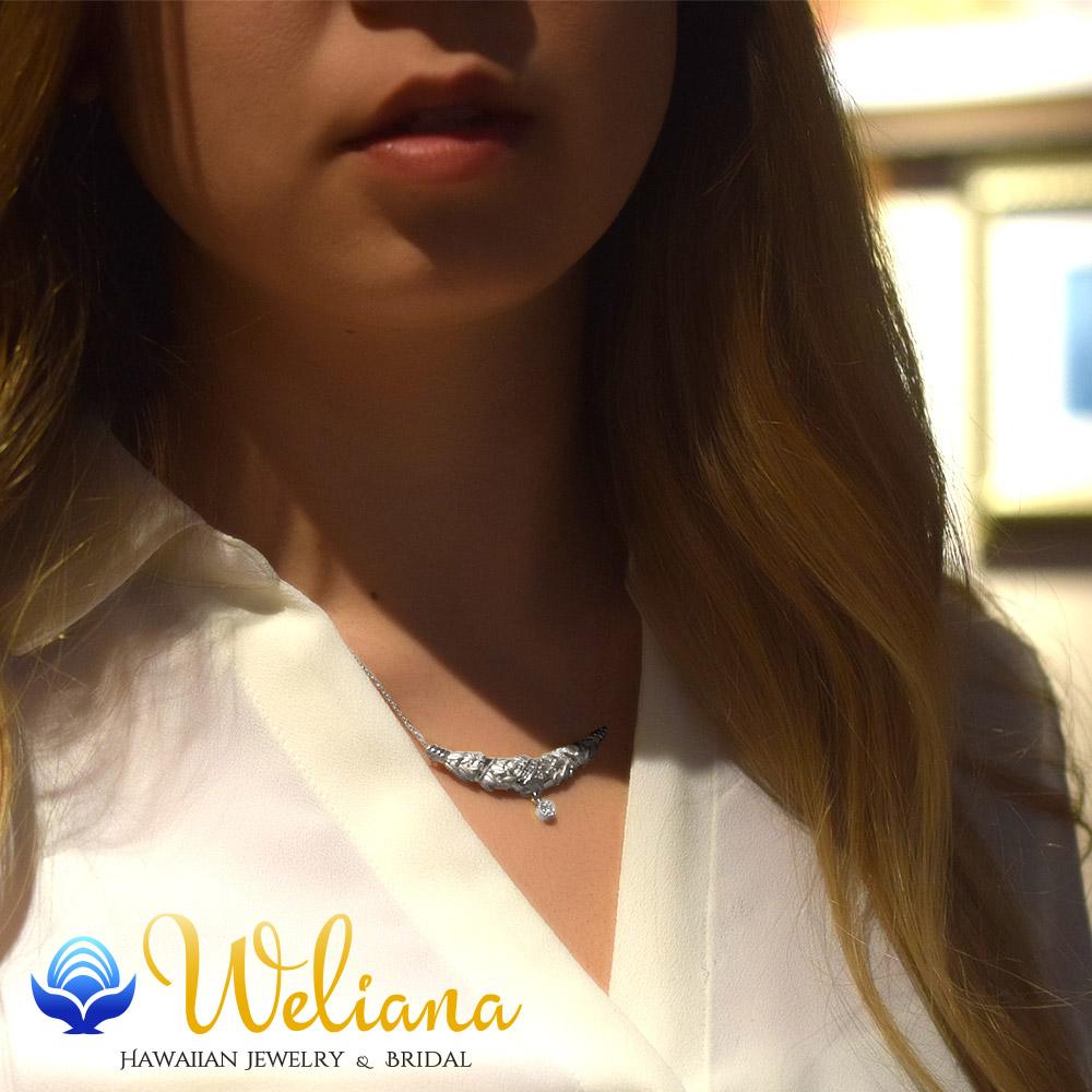 ハワイアンジュエリー ネックレス (Weliana)束ねたマイレのネックレスK18WG wnpd001wg