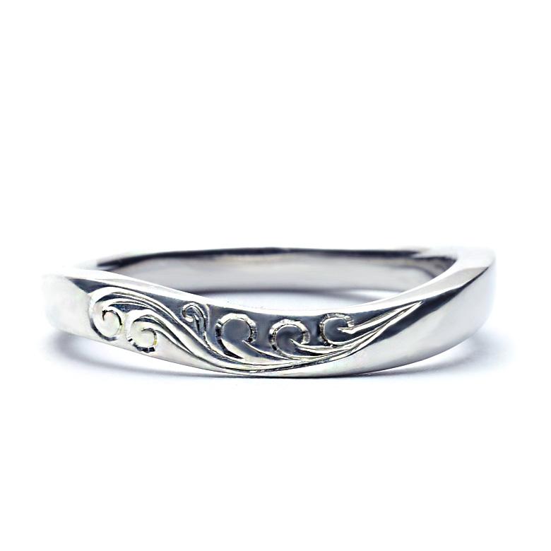 マリッジリング 結婚指輪 ハワイアンジュエリー  レディース 女性 メンズ 男性 (Weliana)ONLYONE 【幅2.5mm】 ウェーブ マリッジリング  K14 K18 pt900