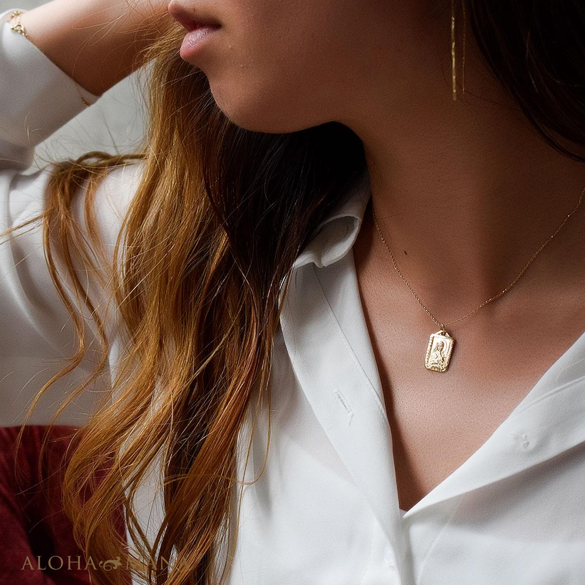 ハワイアンジュエリー ペンダント メダイ K14 ゴールド レディース 14k 14金 ゴールド スクエア メダイ ペンダントトップ (付属チェーンなし)apd1528 プレゼント ギフト gold necklace