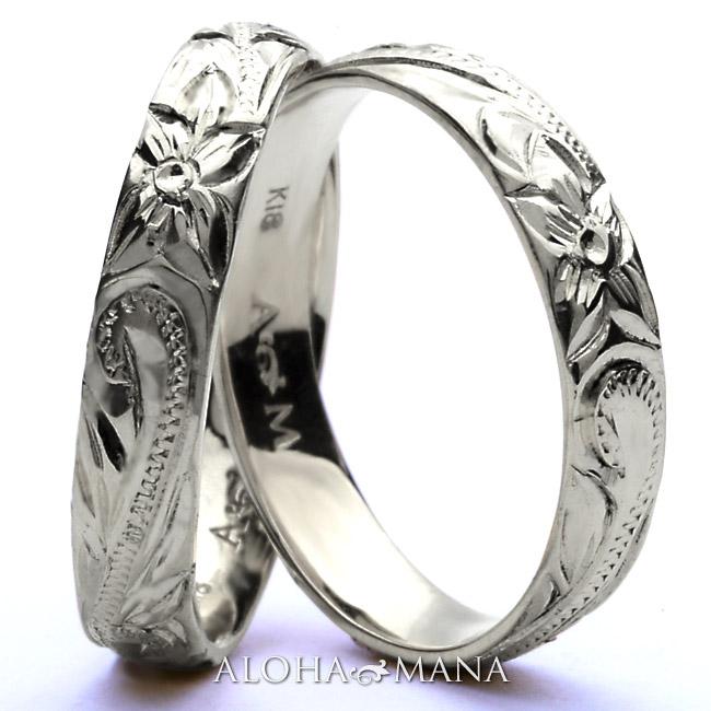 ハワイアンジュエリー リング ring 10金 k10リング 10k リング  指輪 レディース 女性 メンズ 男性 ペアリングにオススメ ゴールドリング ホワイトゴールド K10ゴールド(10金) arig0043wga