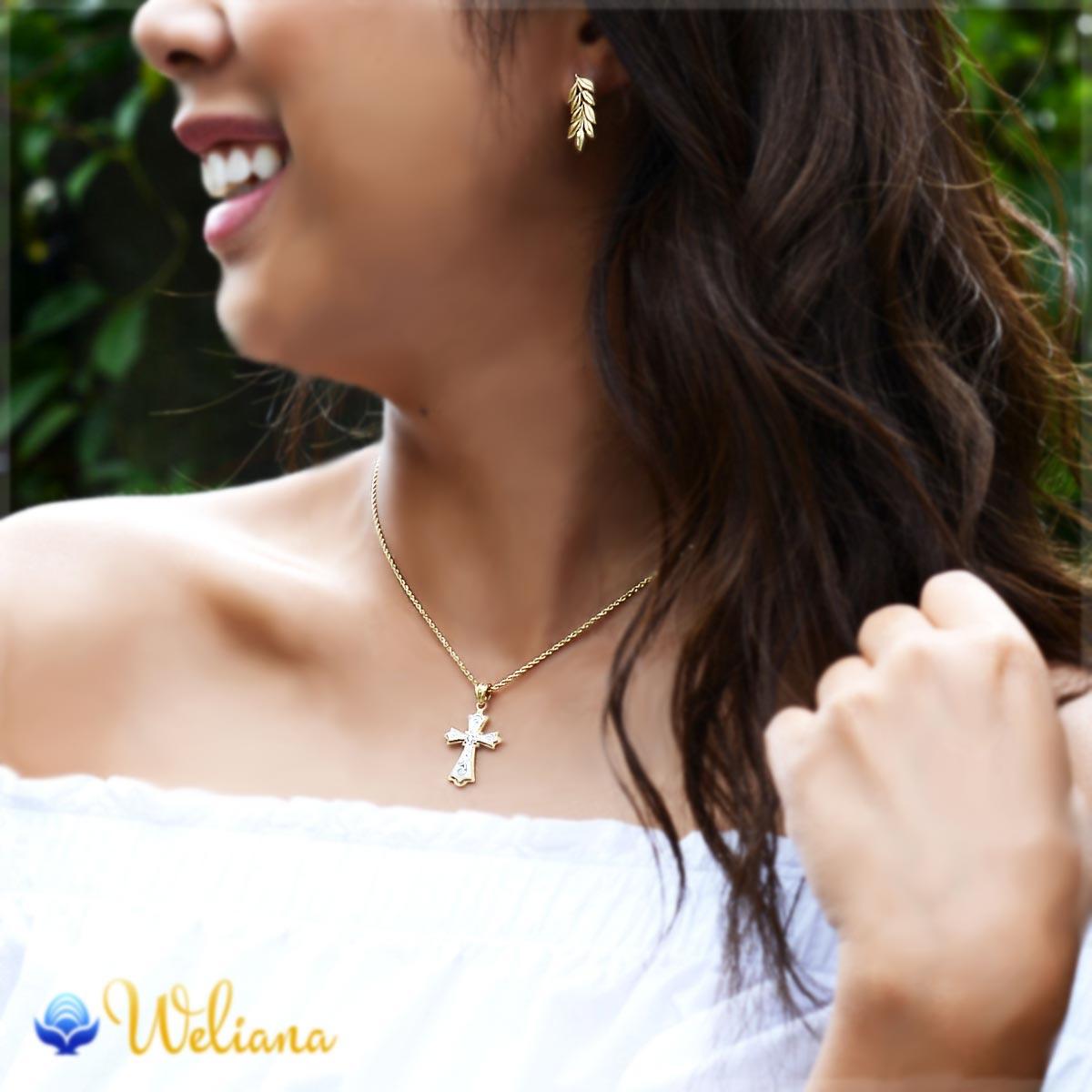 ハワイアンジュエリー アクセサリー レディース 女性 (Weliana) K14 14金 スクロール デュアルトーン クロス  ダイヤモンド 0.03ct ペンダントトップ (付属チェーンなし) wpd1454 (4週間前後発送)