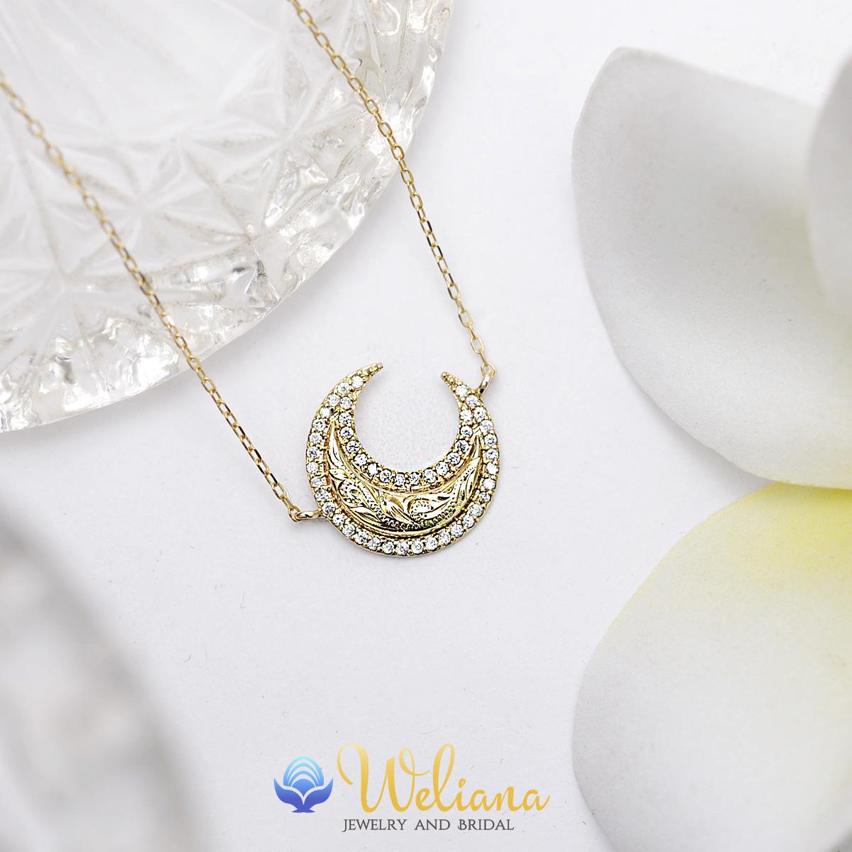 ハワイアンジュエリー k10ネックレス 10金 ゴールド ダイヤモンド  (Weliana) スクロールクレッセント ダイヤモンドネックレス 0.15ct wne1631