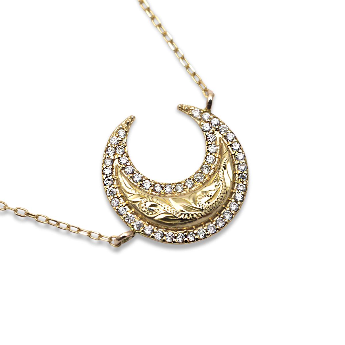 ハワイアンジュエリー k10ネックレス 10金 ゴールド ダイヤモンド  (Weliana) スクロールクレッセント ダイヤモンドネックレス 0.12ct /新作
