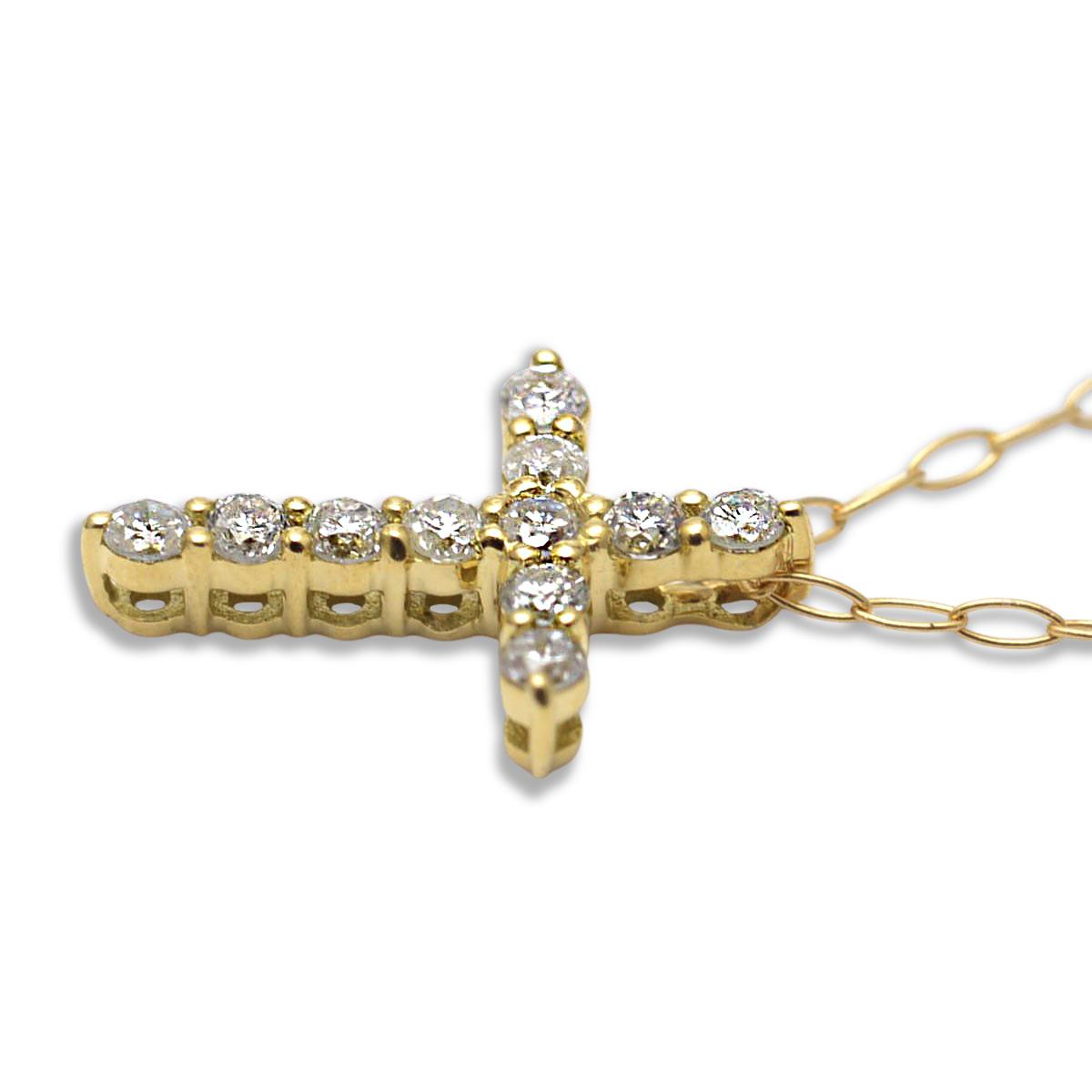 ゴールドネックレス k18ネックレス (RERALUy)クロスダイアモンド ネックレス ダイヤモンド0.1ct K18 18金 ゴールド イエローゴールド ペンダント シンプル