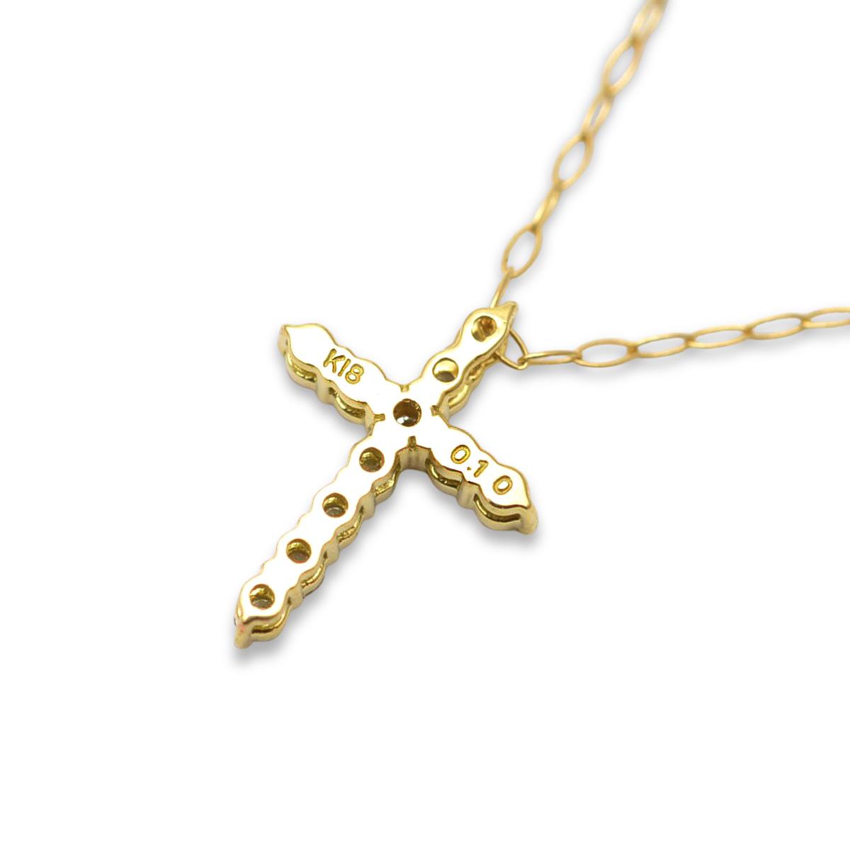 ゴールドネックレス k18ネックレス (RERALUy)クロスダイアモンド ネックレス ダイヤモンド0.1ct K18 18金 ゴールド イエローゴールド ペンダント シンプル rne1636