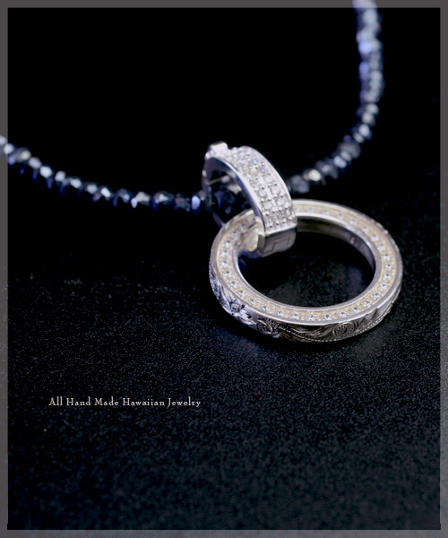 ハワイアンジュエリー ネックレス (Weliana) エターナルCZリング  ブラックスピネル付き リバーシブル ネックレス wpd1119