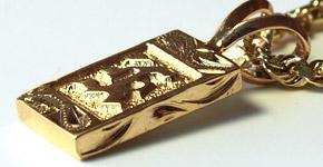 ネックレス ハワイアンジュエリー アクセサリー レディース メンズ(Weliana) オーダーメイド K14フラットゴールド イニシャル・ペンダント トップ 幅8mmまたは10mmでcpdr051g