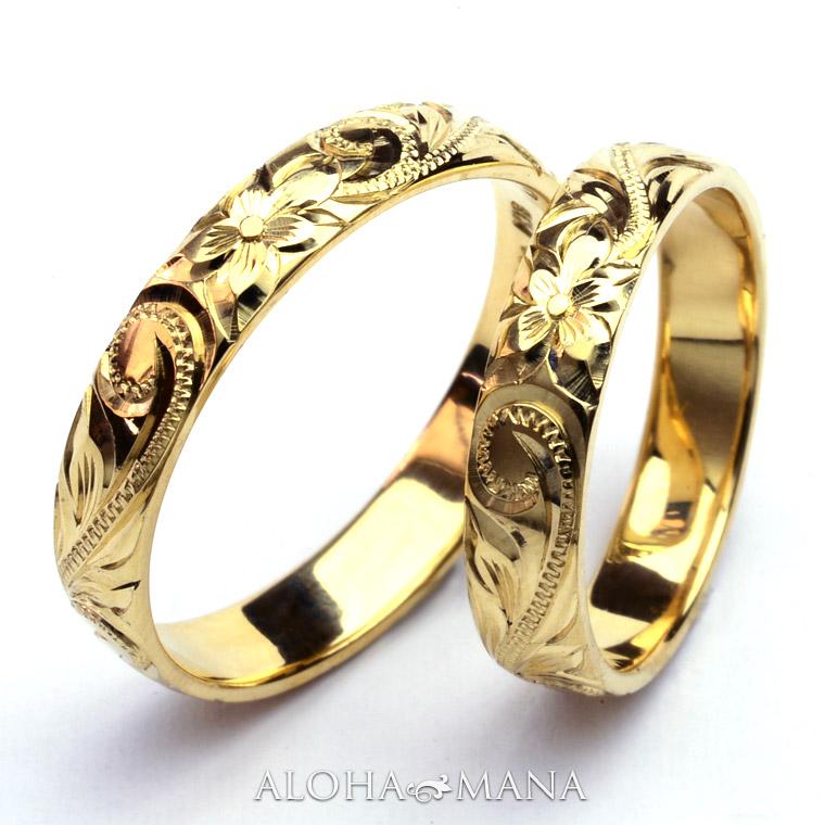 ハワイアンジュエリー  結婚指輪 ペアリング シングルトーンバレル ゴールドリング ペアリングセット cdr001pair (幅4mm・6mm・8mm・10mm)