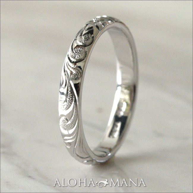 ハワイアンジュエリー アニバーサリーリング・結婚指輪 レディース メンズ (Weliana) ONLY ONE バレル プラチナ PT900 ペア リング (幅3mm/厚み1.5mm) crp001mili_pair