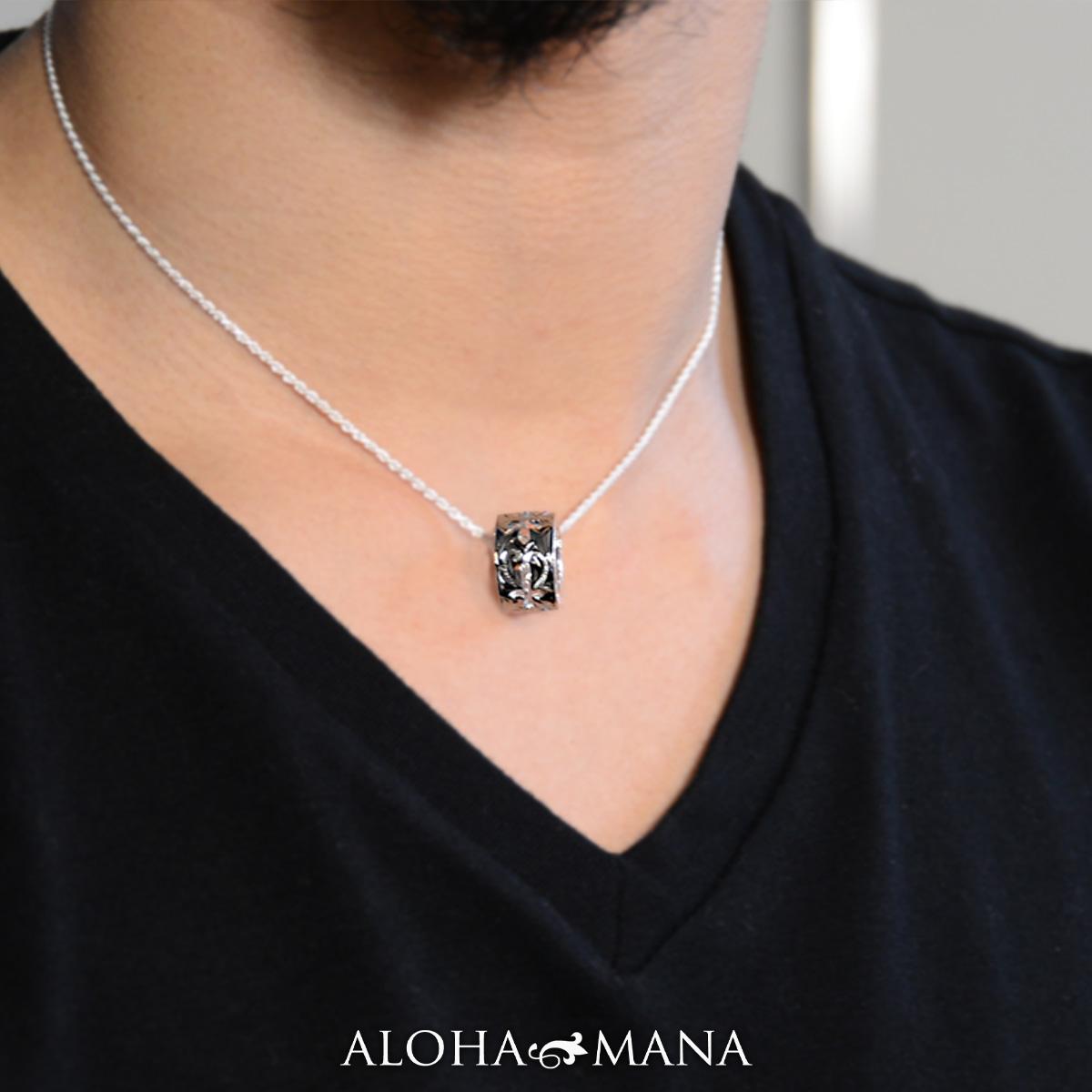 ハワイアンジュエリー ネックレス レディース メンズ シルバー チューブクロス ペンダント チェーン付き シルバー 925 ペンダント ネックレス bpd1549