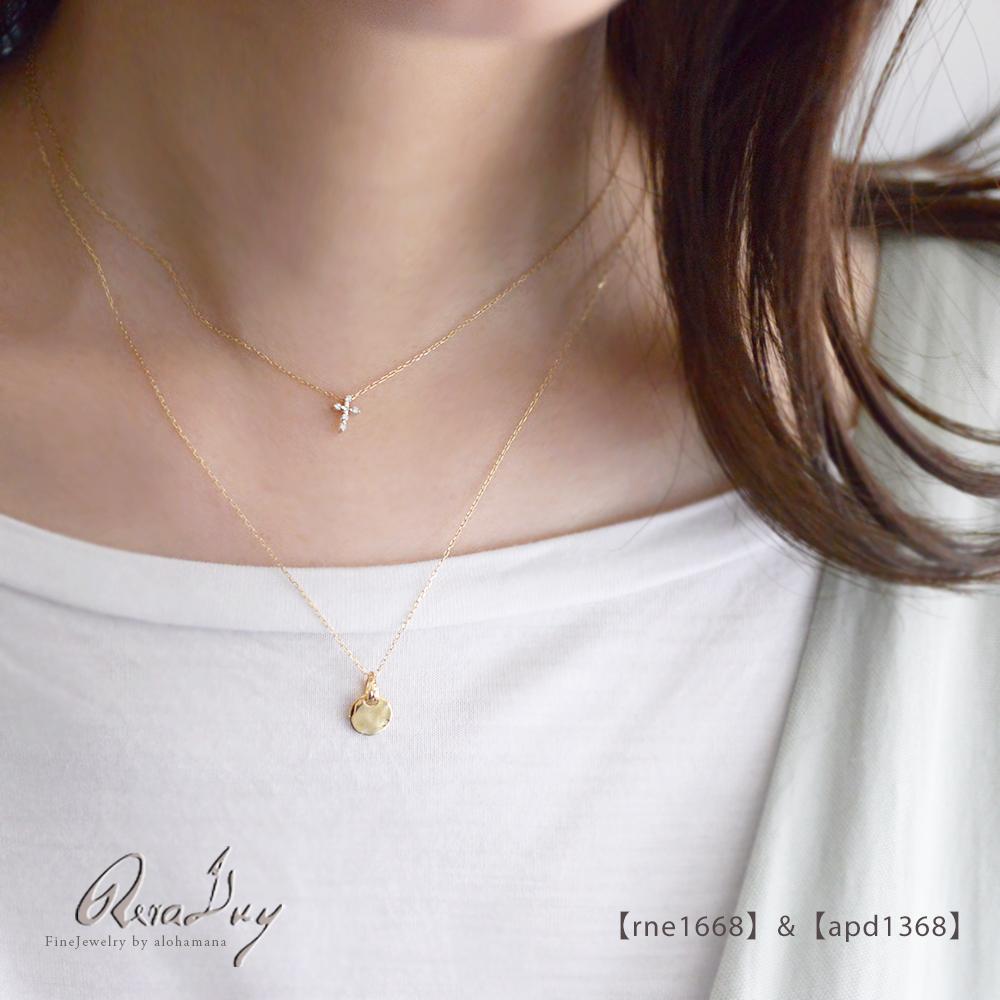 5/21新発売 ゴールドネックレス k10ネックレス (RERALUy)ぺぺクロスダイヤモンド ネックレス ダイヤモンド0.05ct K10 10金 ゴールド イエローゴールド ペンダント シンプル rne1668