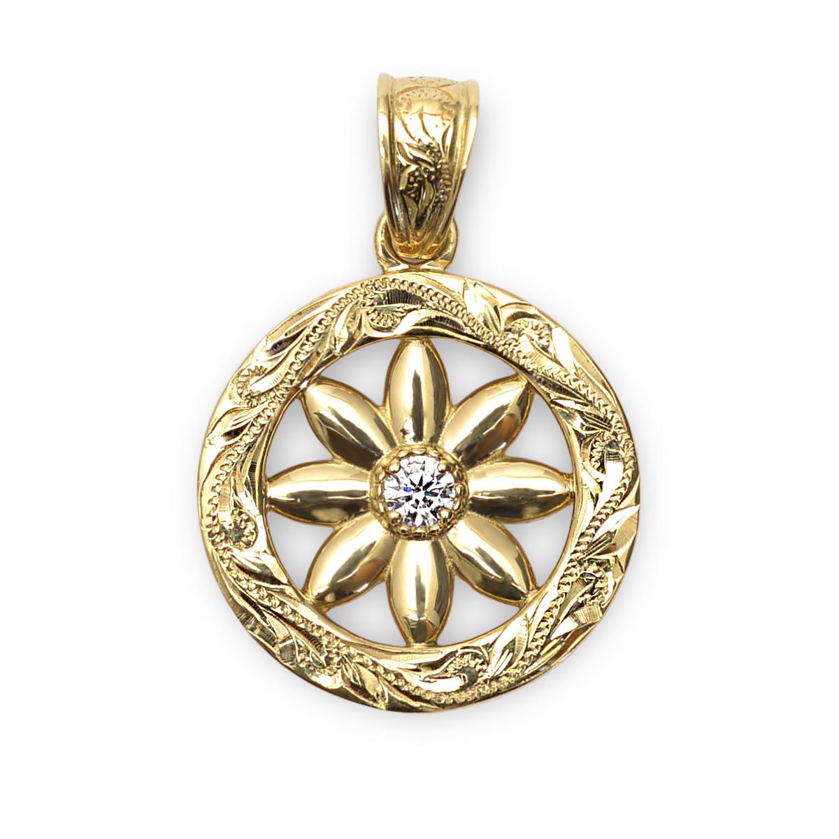 ゴールドネックレス K18 ゴールド 18金 ダイヤモンド ネックレス ハワイアンジュエリー スクロールラウンド ティアレ ダイアモンド ペンダントトップ 0.06ct 新作