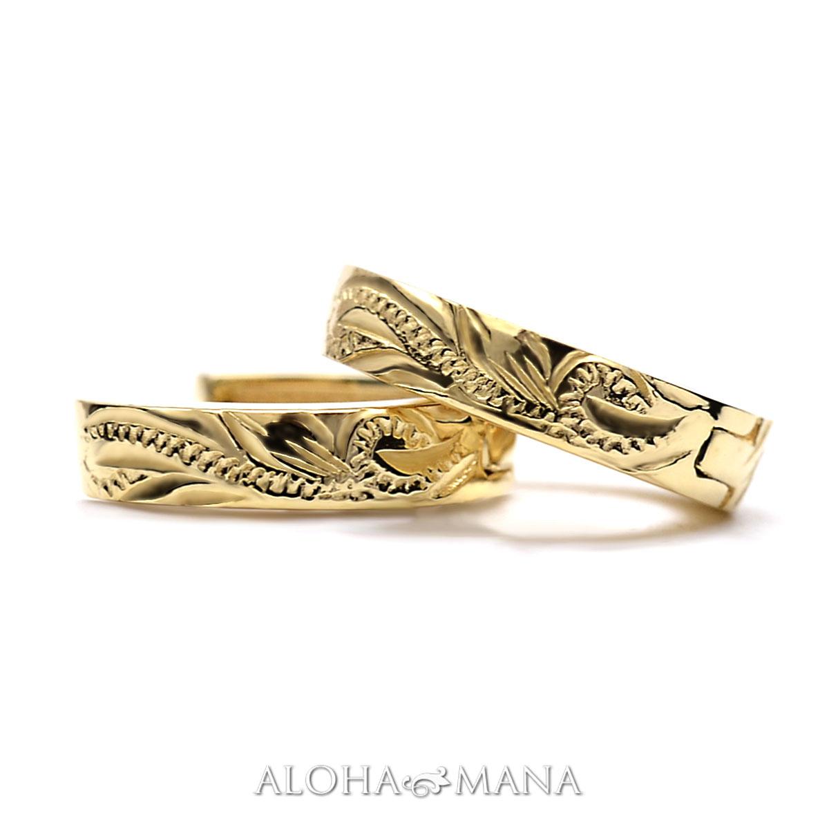 ハワイアンジュエリー ピアス レディース メンズ(K18 ゴールド 18金) スクロール ソリッド フープピアス ape1263ae