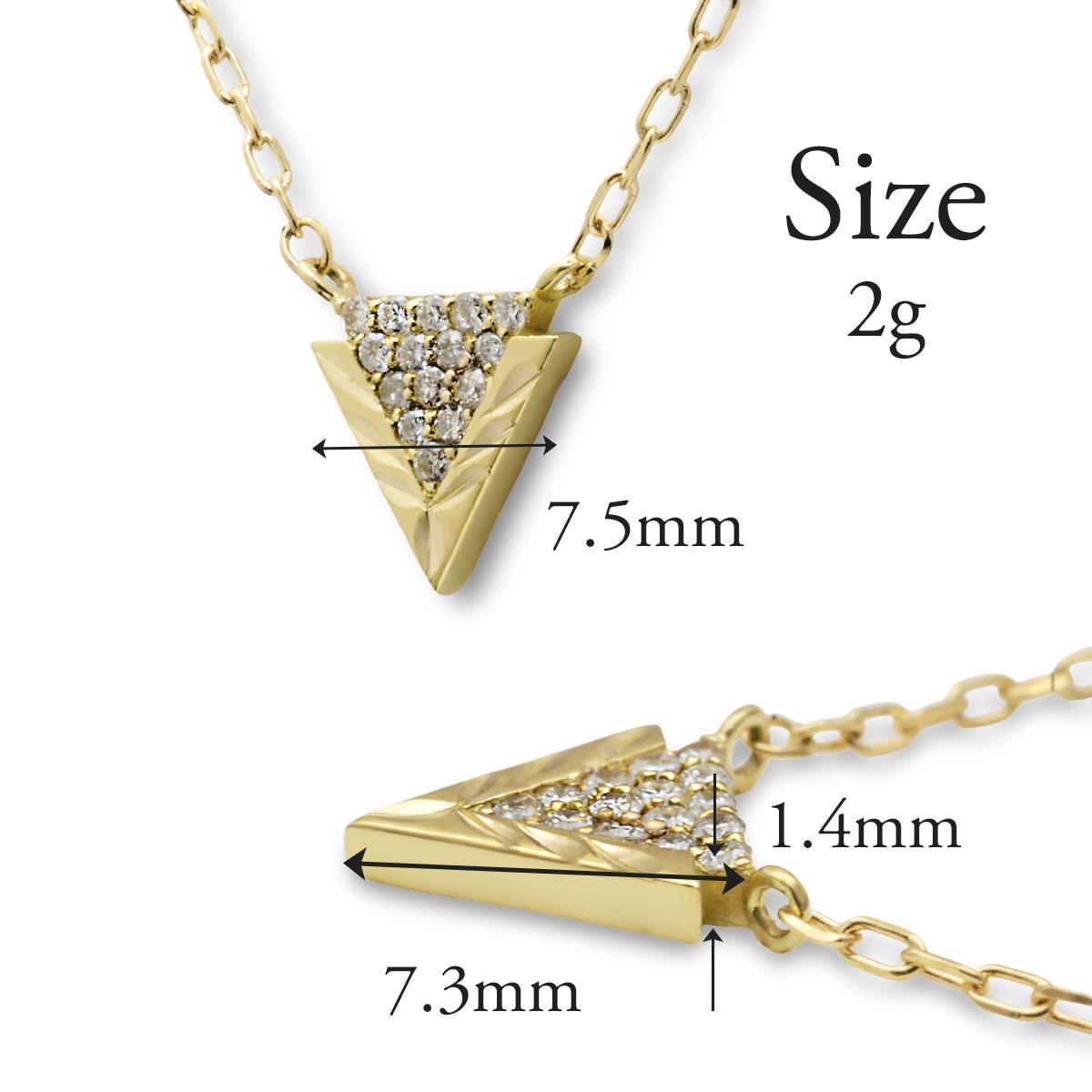 ハワイアンジュエリー ネックレス K10 ゴールド ダイヤモンド (Weliana)トライアングルウェーブ ダイヤ 0.07ctペンダントネックレス/新作