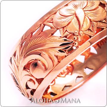ハワイアンジュエリー  結婚指輪 K14ゴールド ゴールドリング 透かし彫りParadise イエロー/ピンク/ホワイト ゴールド hijri000