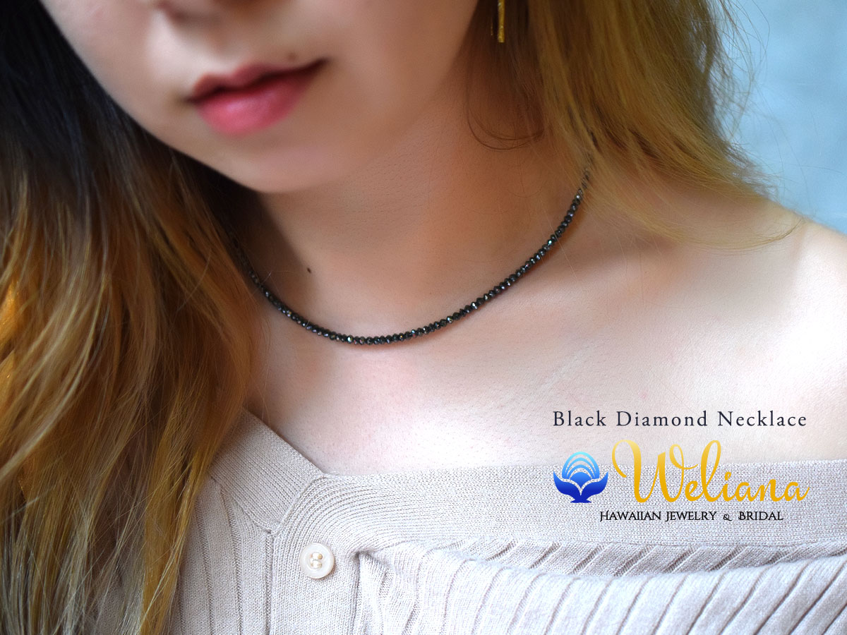 【一点物】ネックレス ハワイアンジュエリー アクセサリー レディース 女性 メンズ 男性 (Weliana) ブラックダイヤモンド ネックレス 26.56ct K18 ホワイトゴールド S wne1189