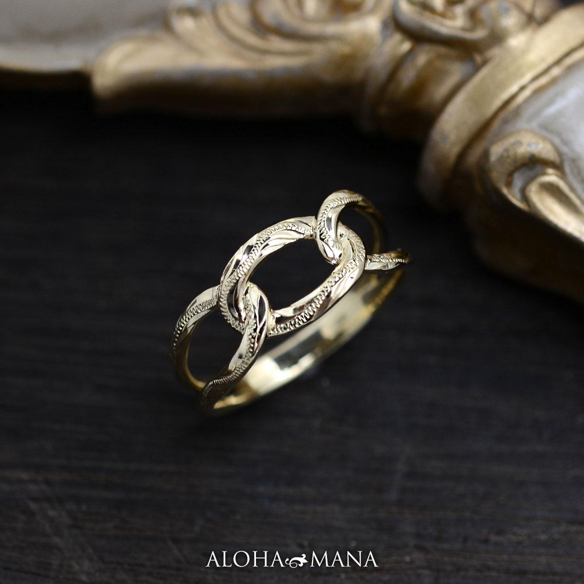 ハワイアンジュエリー リング 指輪 K18 ゴールド チェーンスクロール リング 18金 18K ゴールド イエローゴールド ari1603ae/新作