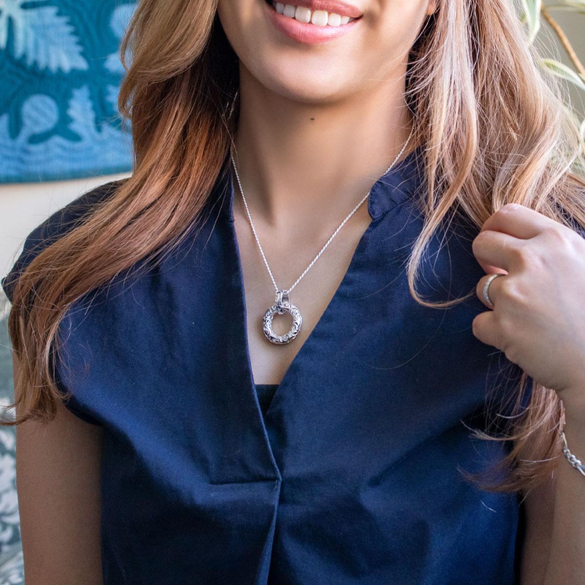 ネックレス ハワイアンジュエリー アクセサリー レディース 女性 メンズ 男性 サークルペンダント・ シルバー 925 dmspdo1243