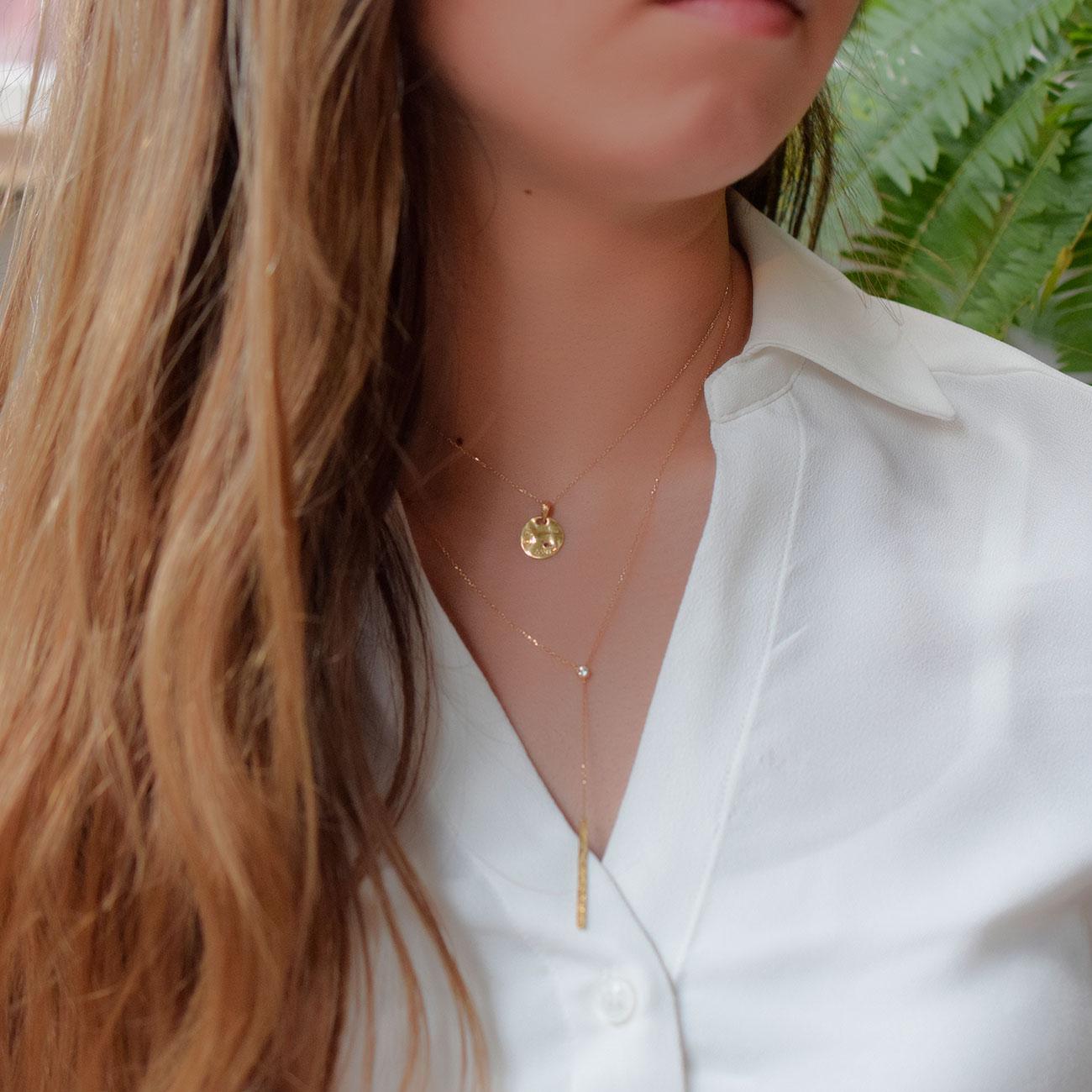 ★雑誌掲載★ハワイアンジュエリー ネックレス K18 イエローゴールド・ダイヤモンド0.06ct ハミング・バー Y字 ネックレス ane1192ae