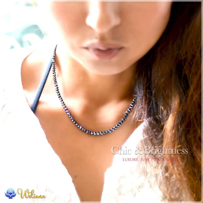 k18ネックレス ネックレス ハワイアンジュエリー アクセサリー レディース 女性 メンズ 男性 (Weliana) ブラックダイヤモンド ネックレス 50ct K18 ホワイトゴールド L wne1191