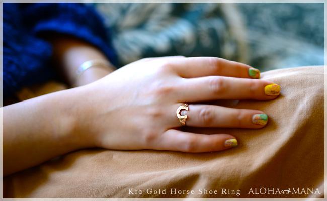 ハワイアンジュエリー アクセサリー レディース ホースシュー 馬蹄  蹄 スクロール ゴールドリング K10 ゴールド 10金  イエロー ピンク ari1370