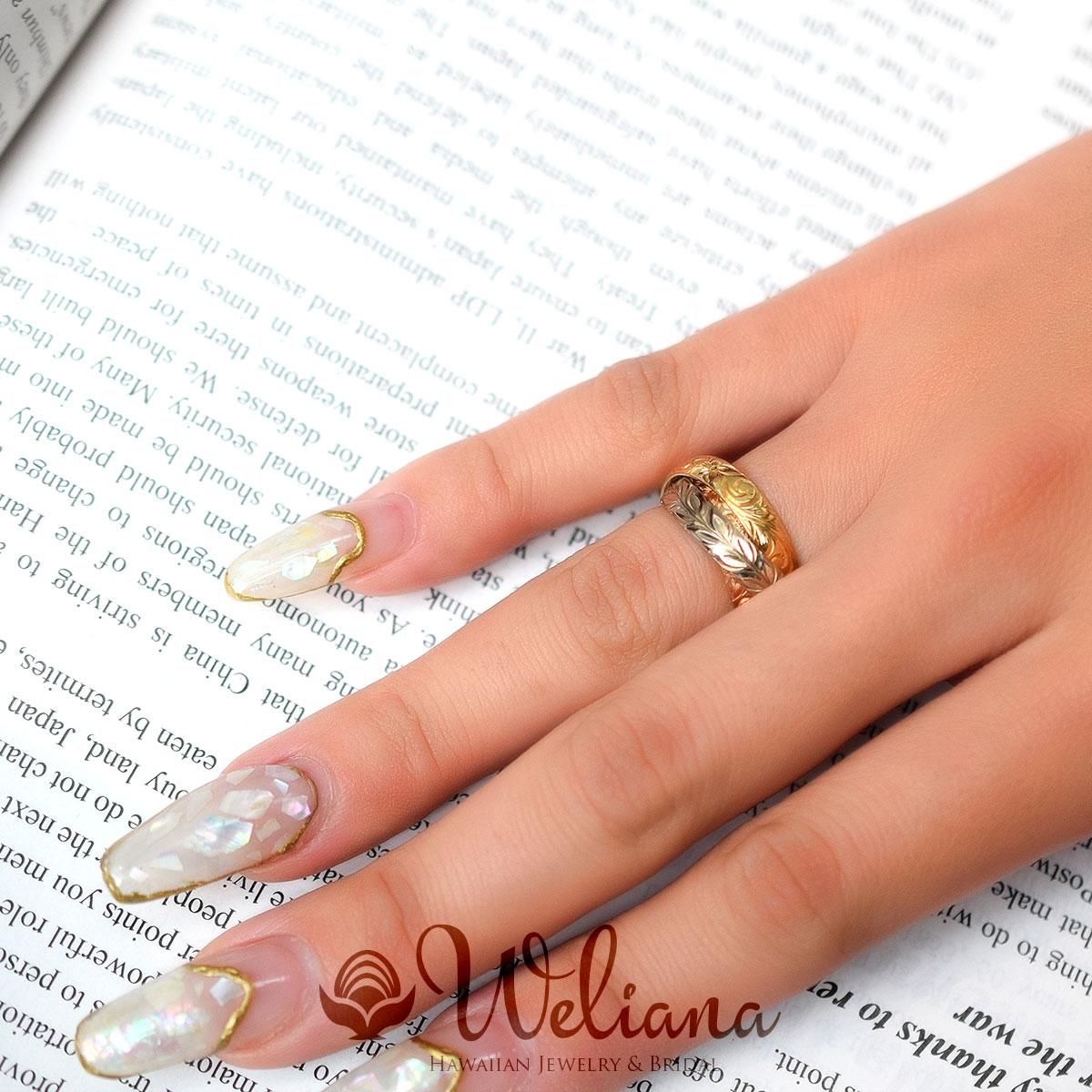 ハワイアンジュエリー  結婚指輪 3連リング バレル カットアウト・ ゴールドリング cdr053