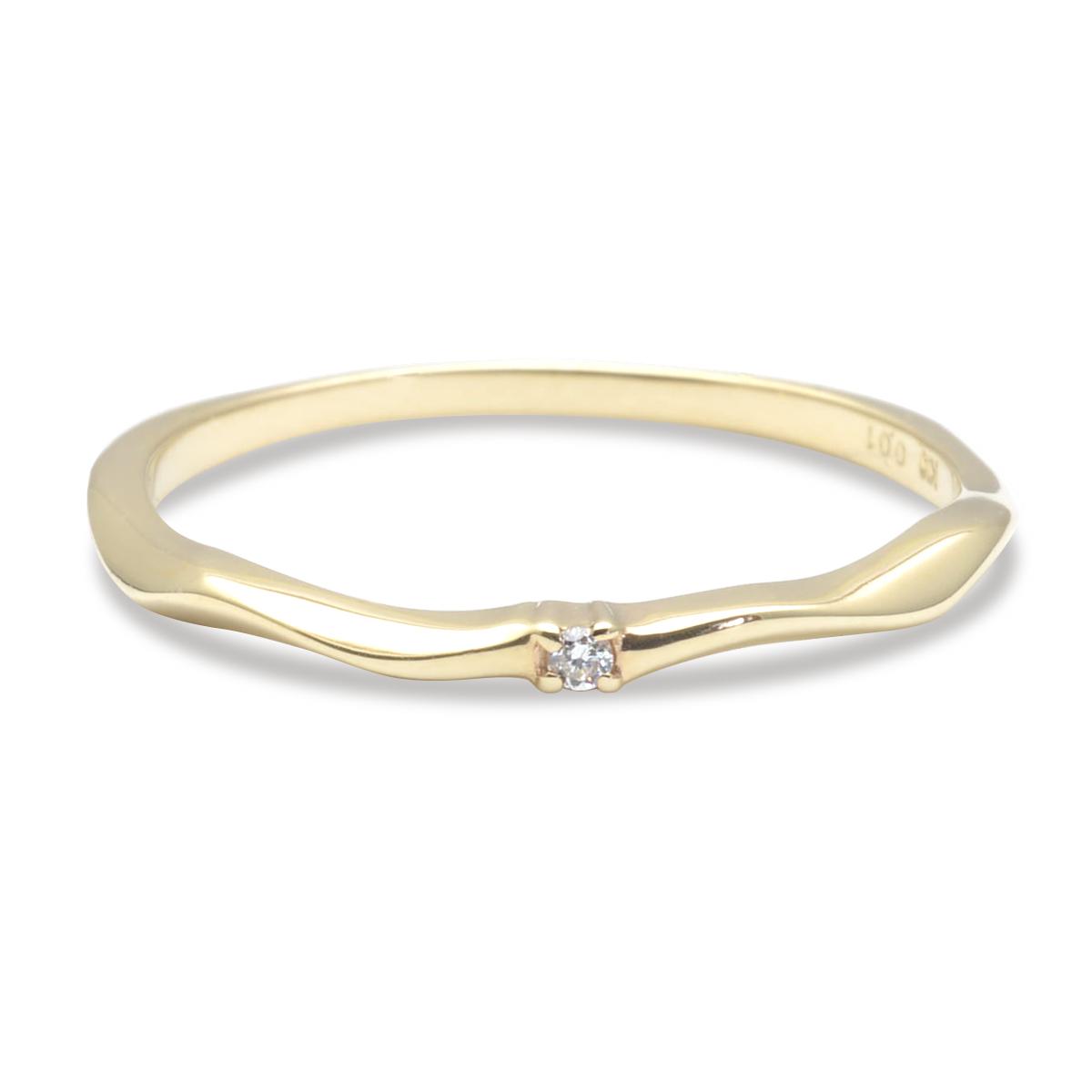 K18 ゴールド リング 指輪 ダイヤモンド ウェイビーゴールドリング (RERALUy) 華奢 新作/rri1677k18