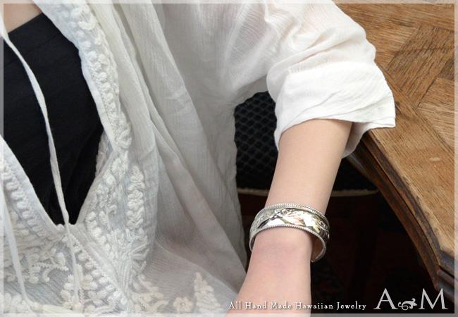 バングル ハワイアンジュエリー アクセサリー レディース 女性 ロープエッジ バレル オープンカフ  バングル シルバー 925 abg1391