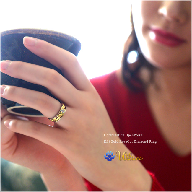 ダイヤモンド リング 指輪 ハワイアンジュエリーレディース 女性 (weliana) (K18 ゴールド 18金) イエロー ホワイト ローズカットダイヤモンド コンビ—ネーション リーフリング  wri1363