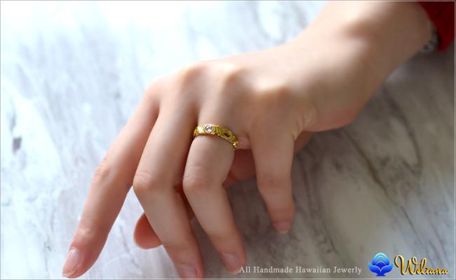ダイヤモンド リング 指輪 ハワイアンジュエリーレディース 女性 (weliana) (K18 ゴールド 18金) イエロー カットアウト ローズカット ダイヤモンド リーフ リング  wri1362