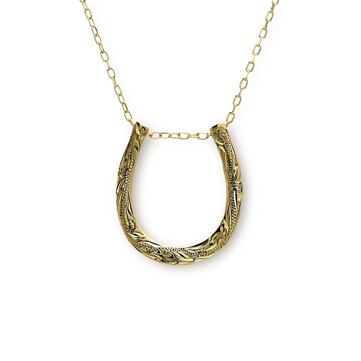 ハワイアンジュエリー ネックレス レディース メンズ K10 ゴールド 10K 金10 馬蹄 ハピネスホースシュー ペンダント ペンダント チェーン付き 新作