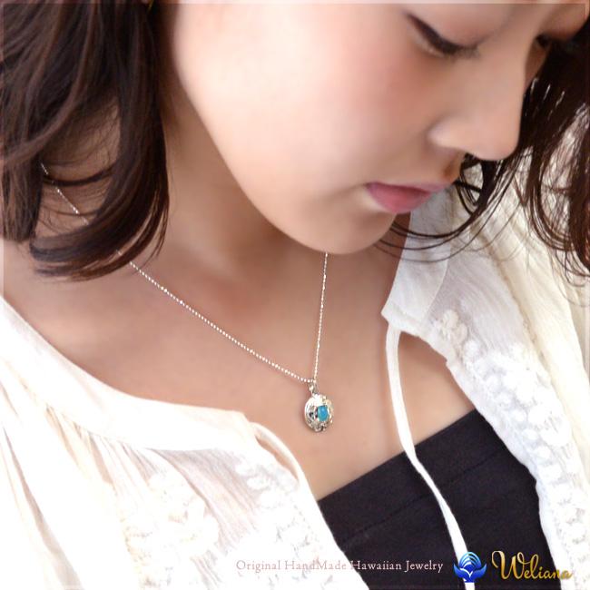 ネックレス ハワイアンジュエリー アクセサリー レディース 女性 メンズ 男性 (Weliana) アンティーク オーバル シェイプ パワーストーン カラーストーン 天然石 ネックレス ペンダント シルバー 925 シンプル wpd1389
