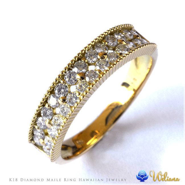 ダイヤモンド リング 指輪 ハワイアンジュエリーレディース 女性 (weliana)  (K18 ゴールド 18金)   ハーフ エタニティ マイレ ダイヤモンド リング イエローゴールド wri1399