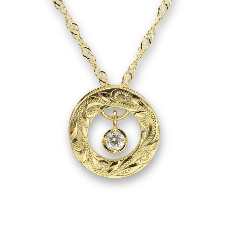 【ウェリアナ×Serinaコラボ企画】ゴールドネックレス K18 18金 ダイヤモンド ハワイアンジュエリー ラウンドトロピカル スウィングスター ペンダント40cmチェーン付き  0.05ct 新作