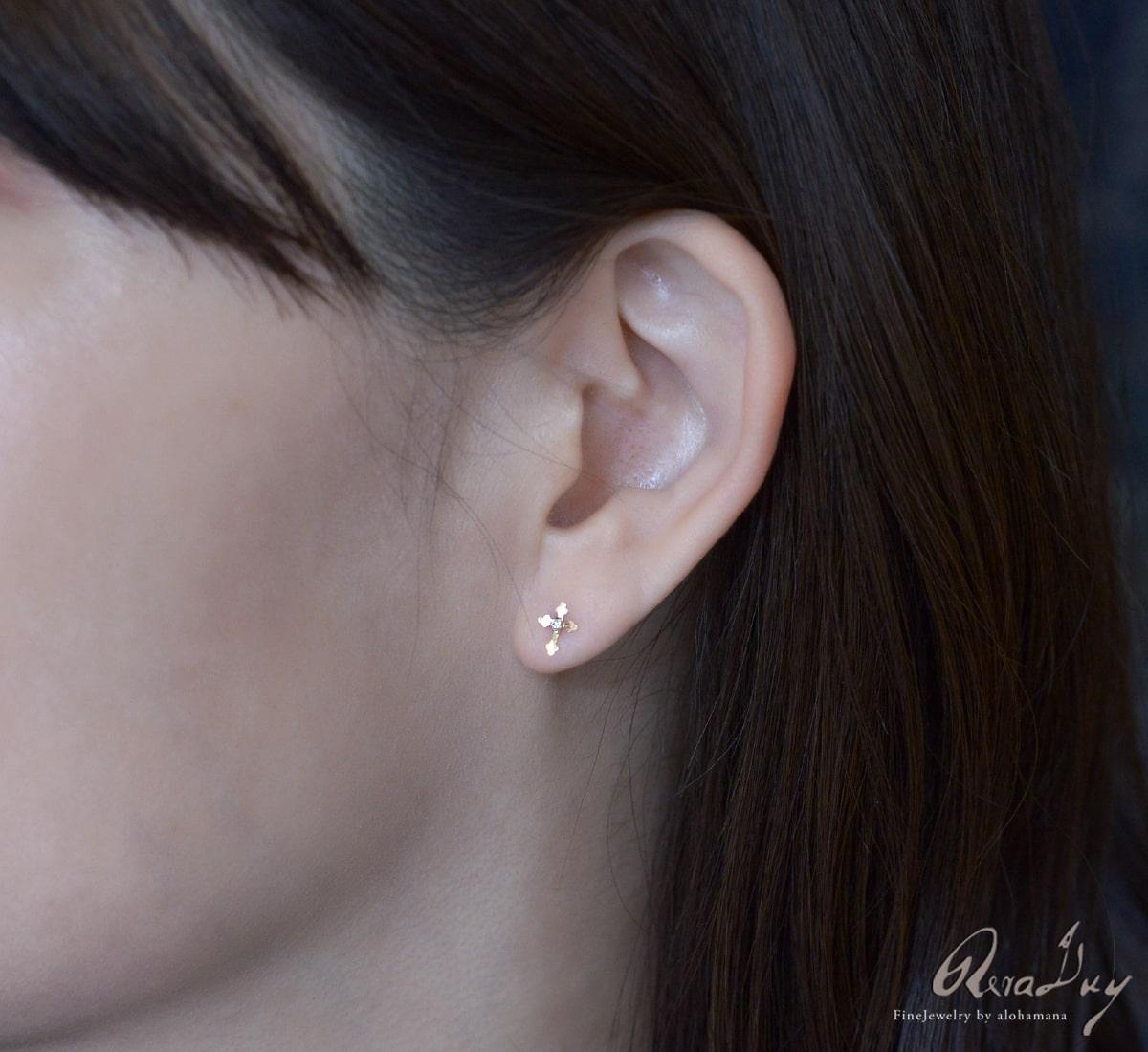 K10 ゴールド ピアス レディース 女性 アクセサリー 一粒ダイヤモンドクロス ピアス 0.012ct  両耳用 イエローゴールド スタッドピアス  (RERALUy) 新作/rpe1680k10